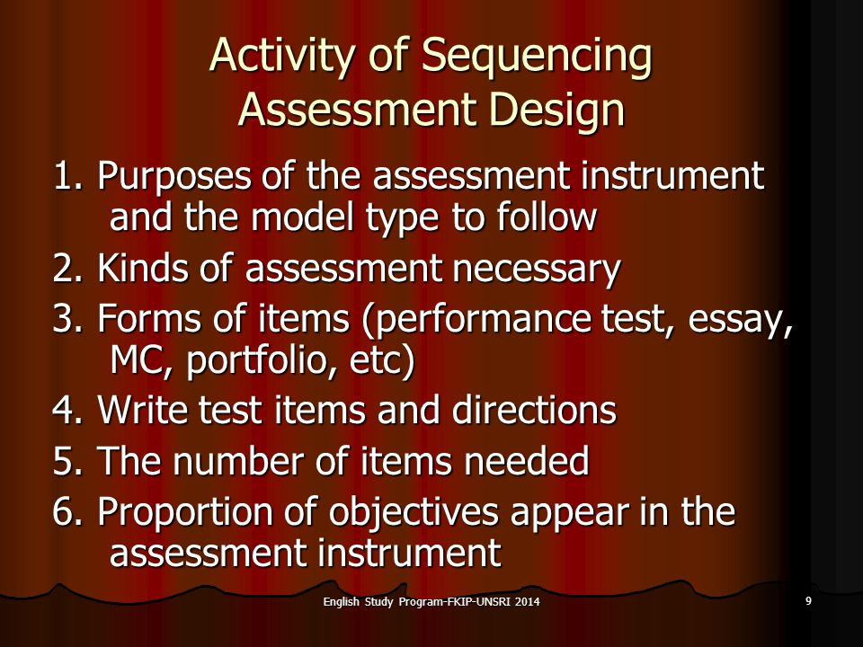 9 Activity of Sequencing Assessment Design 1.