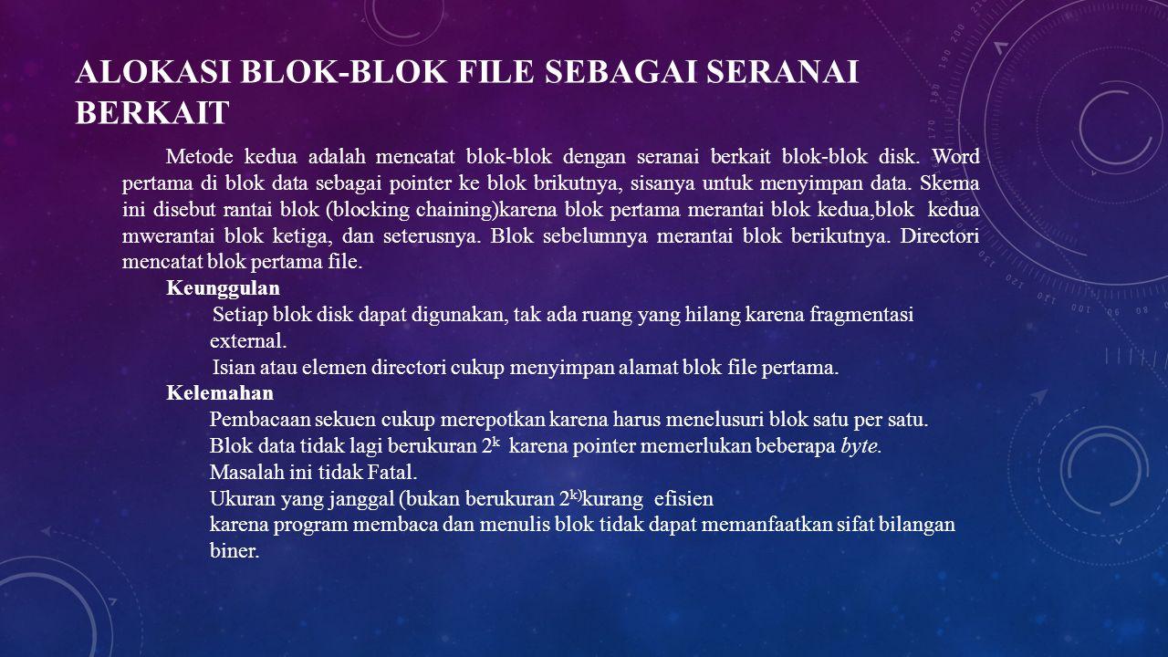 ALOKASI BLOK-BLOK FILE SEBAGAI SERANAI BERKAIT Metode kedua adalah mencatat blok-blok dengan seranai berkait blok-blok disk. Word pertama di blok data