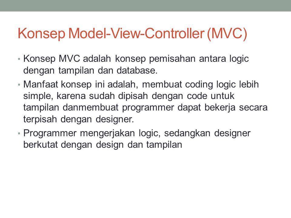 Konsep Model-View-Controller (MVC) Konsep MVC adalah konsep pemisahan antara logic dengan tampilan dan database. Manfaat konsep ini adalah, membuat co