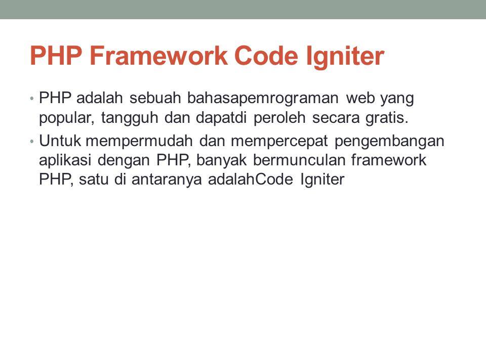 PHP Framework Code Igniter PHP adalah sebuah bahasapemrograman web yang popular, tangguh dan dapatdi peroleh secara gratis. Untuk mempermudah dan memp