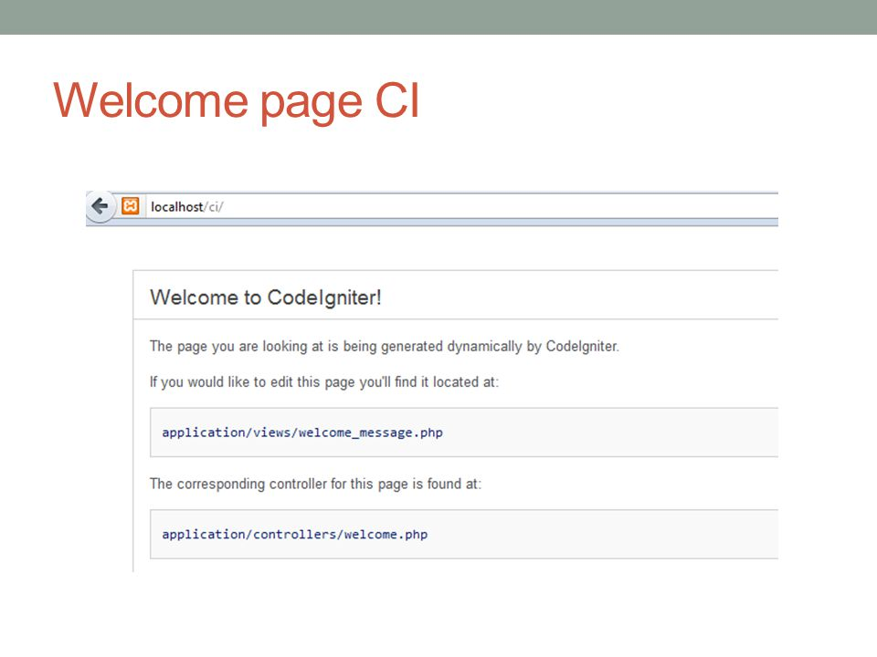 Welcome page CI