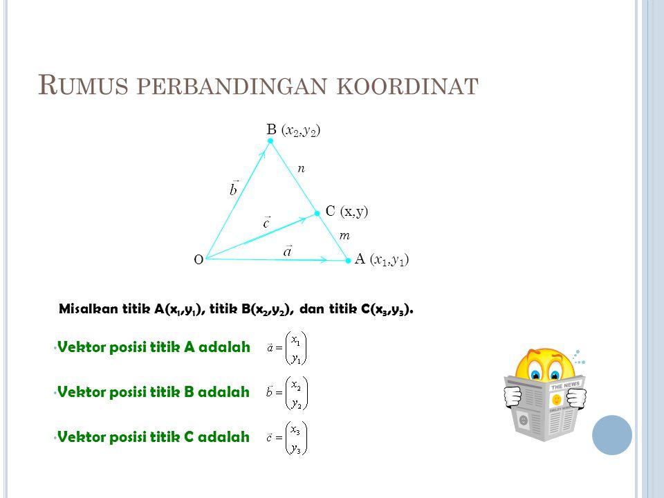 Misalkan vektor-vektor posisi titik A dan titik B berturut-turut adalah dan Titik C terletak pada ruas garis AB dengan perbandingan AC : CB = m : n, maka vektor posisi C adalah ditentukan dengan rumus: A B C O n m