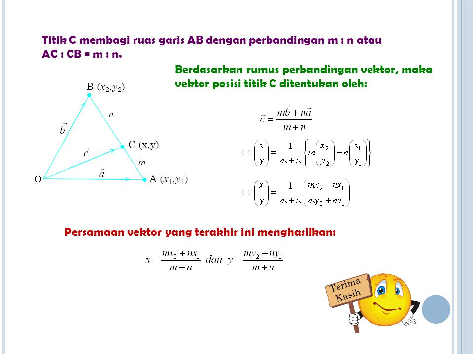 R UMUS PERBANDINGAN KOORDINAT Vektor posisi titik A adalah Vektor posisi titik B adalah Vektor posisi titik C adalah A ( x 1, y 1 ) B ( x 2, y 2 ) C (x,y) O n m Misalkan titik A(x 1,y 1 ), titik B(x 2,y 2 ), dan titik C(x 3,y 3 ).