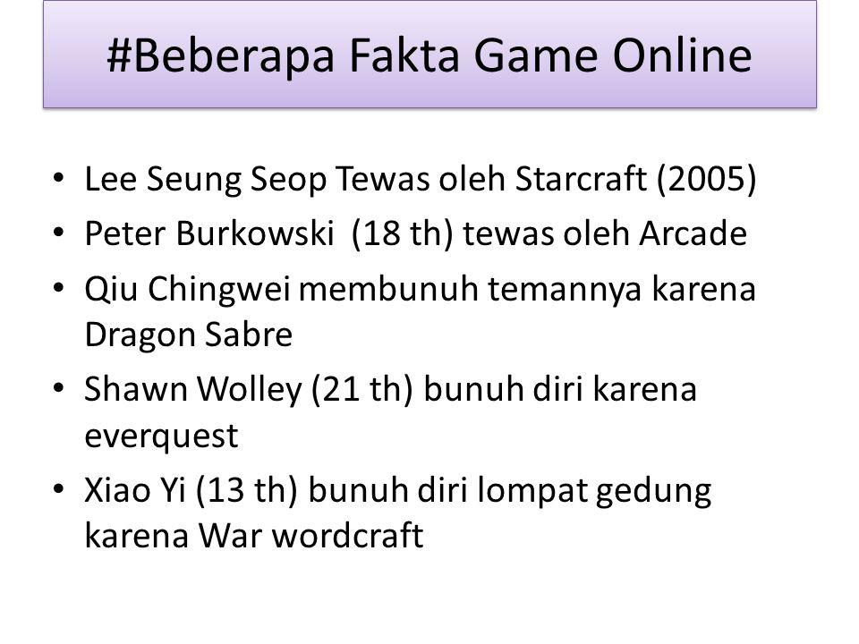 #Beberapa Fakta Game Online Lee Seung Seop Tewas oleh Starcraft (2005) Peter Burkowski (18 th) tewas oleh Arcade Qiu Chingwei membunuh temannya karena