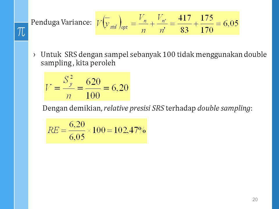 20 Penduga Variance: ›Untuk SRS dengan sampel sebanyak 100 tidak menggunakan double sampling, kita peroleh Dengan demikian, relative presisi SRS terha