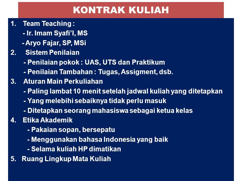 KONTRAK KULIAH 1.Team Teaching : - Ir. Imam Syafi'I, MS - Aryo Fajar, SP, MSi 2. Sistem Penilaian - Penilaian pokok : UAS, UTS dan Praktikum - Penilai