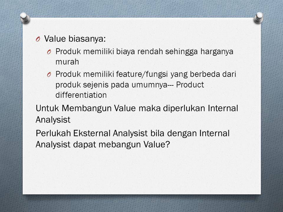 O Value biasanya: O Produk memiliki biaya rendah sehingga harganya murah O Produk memiliki feature/fungsi yang berbeda dari produk sejenis pada umumnya--- Product differentiation Untuk Membangun Value maka diperlukan Internal Analysist Perlukah Eksternal Analysist bila dengan Internal Analysist dapat mebangun Value?