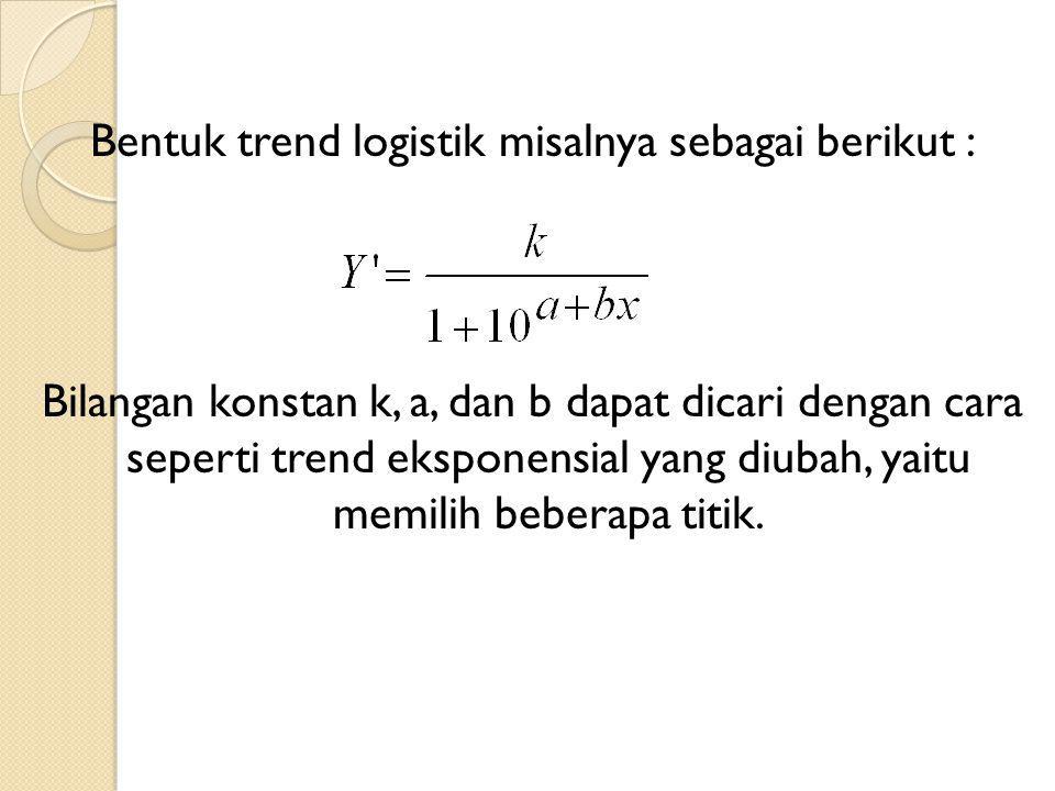 Bentuk trend logistik misalnya sebagai berikut : Bilangan konstan k, a, dan b dapat dicari dengan cara seperti trend eksponensial yang diubah, yaitu memilih beberapa titik.