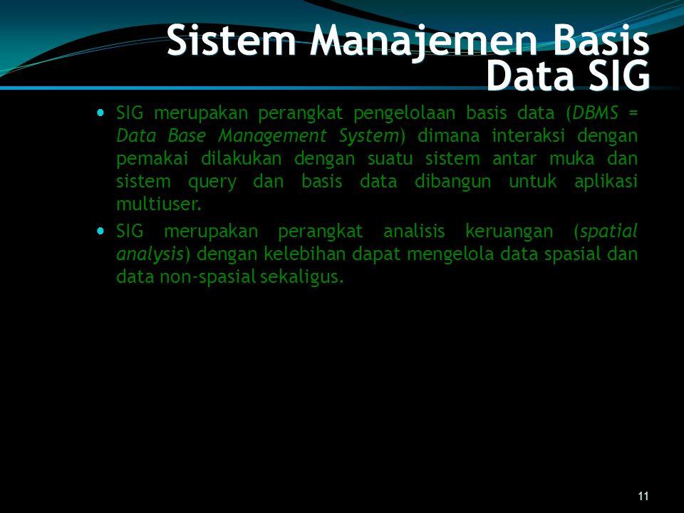 Sistem Manajemen Basis Data SIG SIG merupakan perangkat pengelolaan basis data (DBMS = Data Base Management System) dimana interaksi dengan pemakai di