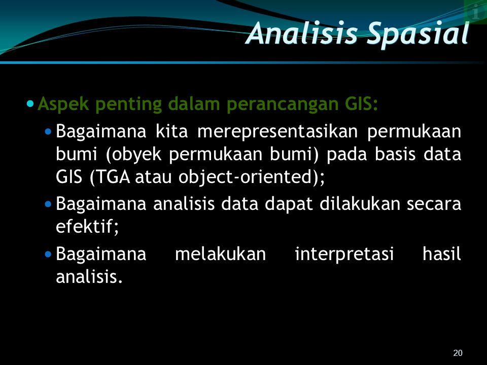 Analisis Spasial Aspek penting dalam perancangan GIS: Bagaimana kita merepresentasikan permukaan bumi (obyek permukaan bumi) pada basis data GIS (TGA