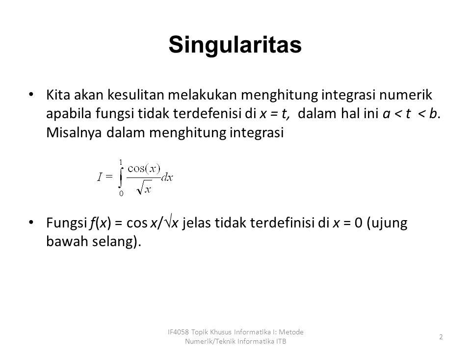 Integral Ganda IF4058 Topik Khusus Informatika I: Metode Numerik/Teknik Informatika ITB 33 Tafsiran geometri dari integral ganda adalah menghitung volume ruang di bawah permukaan kurva f(x,y) yang alasnya adalah berupa bidang yang dibatasi oleh garis-garis x = a, x = b, y = c, dan y = d.