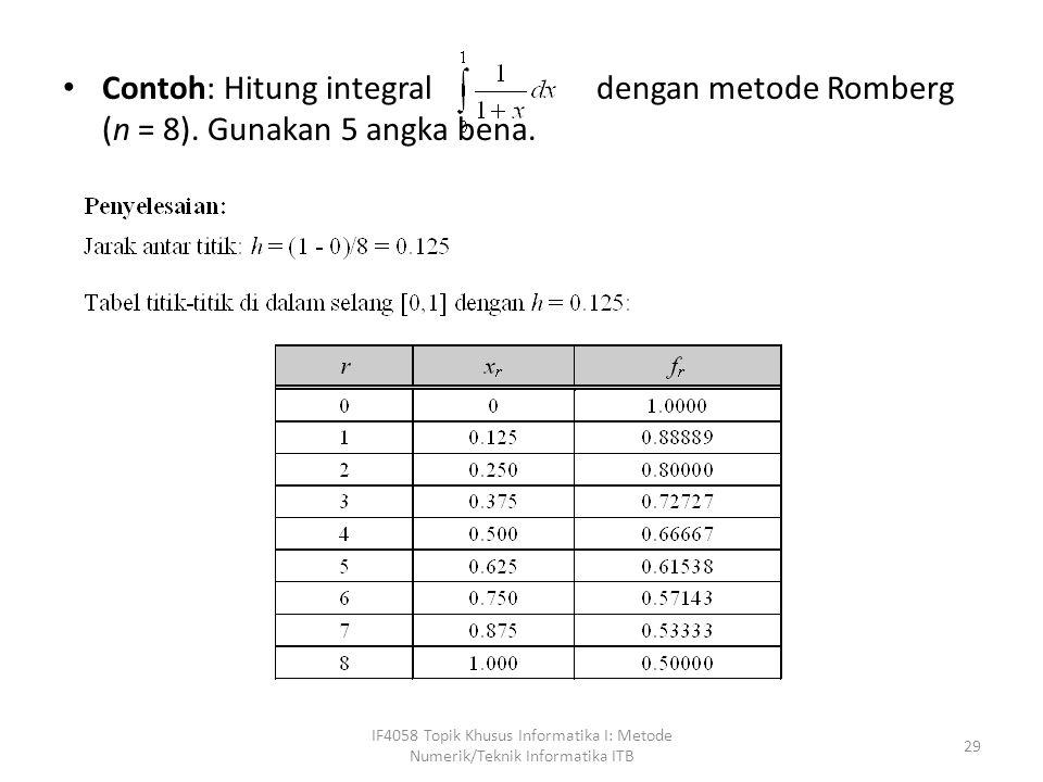 Contoh: Hitung integral dengan metode Romberg (n = 8).