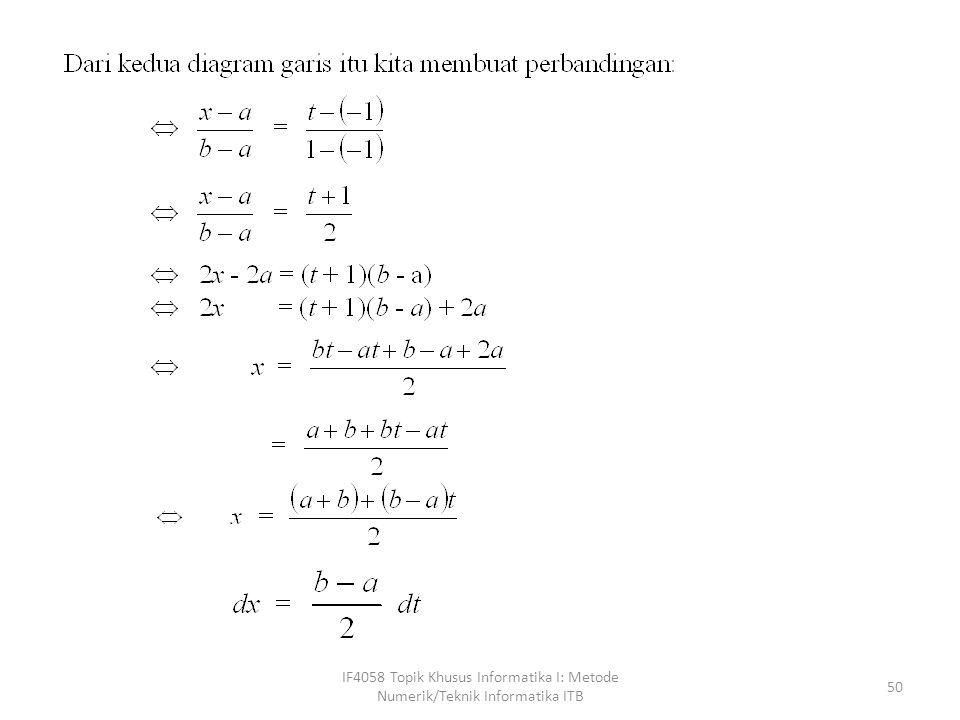 IF4058 Topik Khusus Informatika I: Metode Numerik/Teknik Informatika ITB 50