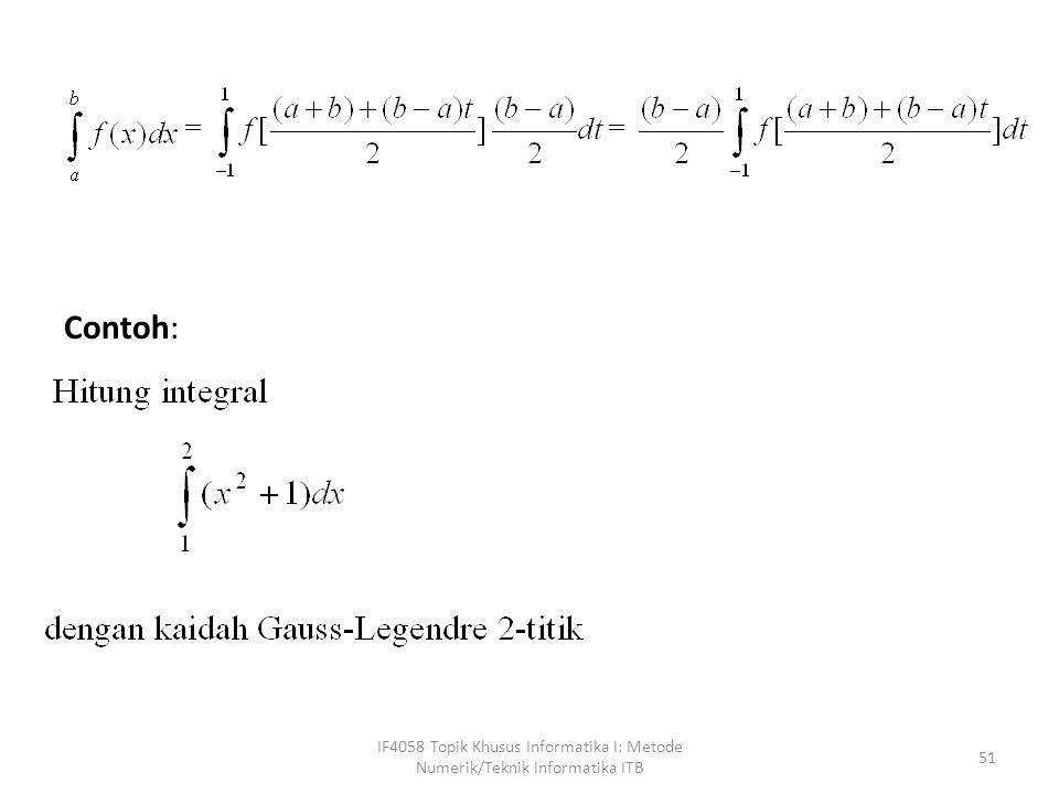 IF4058 Topik Khusus Informatika I: Metode Numerik/Teknik Informatika ITB 51 Contoh:
