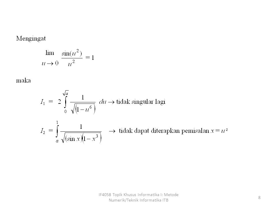 IF4058 Topik Khusus Informatika I: Metode Numerik/Teknik Informatika ITB 39