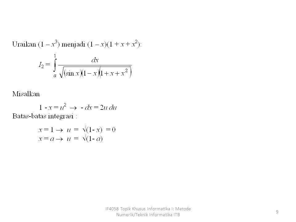 IF4058 Topik Khusus Informatika I: Metode Numerik/Teknik Informatika ITB 40