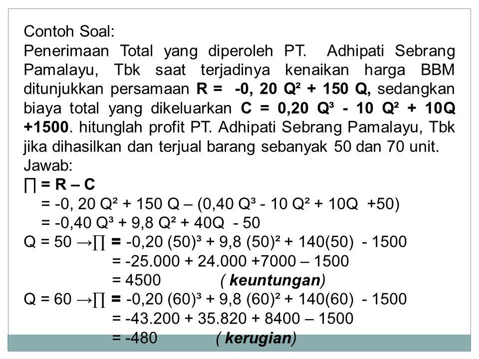 Contoh Soal: Penerimaan Total yang diperoleh PT. Adhipati Sebrang Pamalayu, Tbk saat terjadinya kenaikan harga BBM ditunjukkan persamaan R = -0, 20 Q²