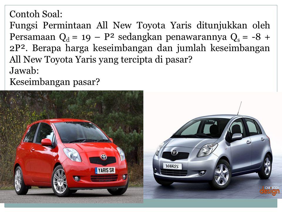 Contoh Soal: Fungsi Permintaan All New Toyota Yaris ditunjukkan oleh Persamaan Q d = 19 – P² sedangkan penawarannya Q s = -8 + 2P². Berapa harga kesei
