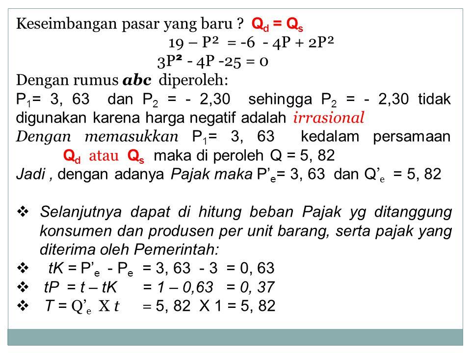 Keseimbangan pasar yang baru ? Q d = Q s 19 – P² = -6 - 4P + 2P² 3P ² - 4P -25 = 0 Dengan rumus abc diperoleh: P 1 = 3, 63 dan P 2 = - 2,30 sehingga P