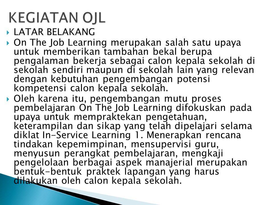  LATAR BELAKANG  On The Job Learning merupakan salah satu upaya untuk memberikan tambahan bekal berupa pengalaman bekerja sebagai calon kepala sekol
