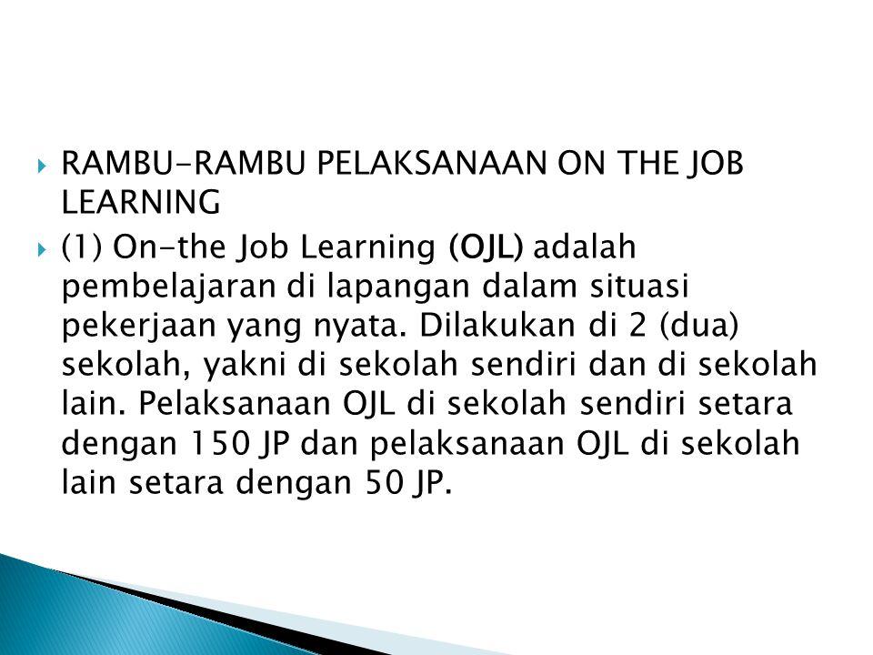  RAMBU-RAMBU PELAKSANAAN ON THE JOB LEARNING  (1) On-the Job Learning (OJL) adalah pembelajaran di lapangan dalam situasi pekerjaan yang nyata. Dila