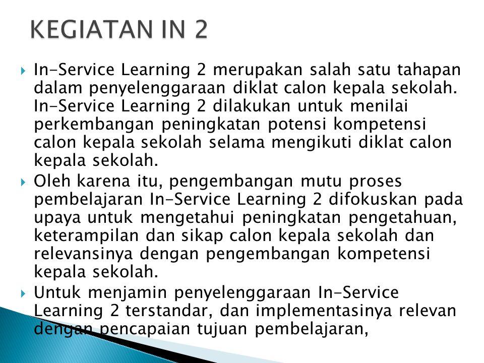 In-Service Learning 2 merupakan salah satu tahapan dalam penyelenggaraan diklat calon kepala sekolah. In-Service Learning 2 dilakukan untuk menilai