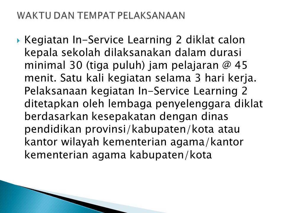  Kegiatan In-Service Learning 2 diklat calon kepala sekolah dilaksanakan dalam durasi minimal 30 (tiga puluh) jam pelajaran @ 45 menit. Satu kali keg