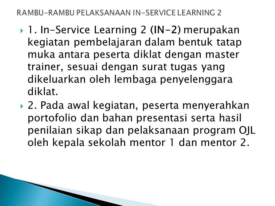  1. In-Service Learning 2 (IN-2) merupakan kegiatan pembelajaran dalam bentuk tatap muka antara peserta diklat dengan master trainer, sesuai dengan s