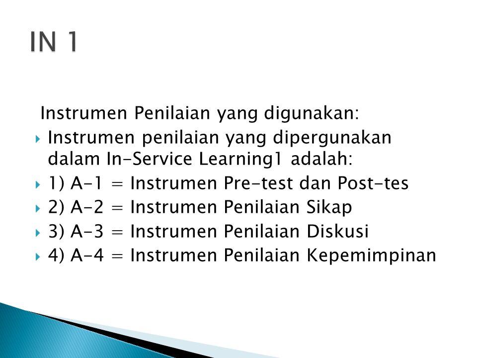 Instrumen Penilaian yang digunakan:  Instrumen penilaian yang dipergunakan dalam In-Service Learning1 adalah:  1) A-1 = Instrumen Pre-test dan Post-