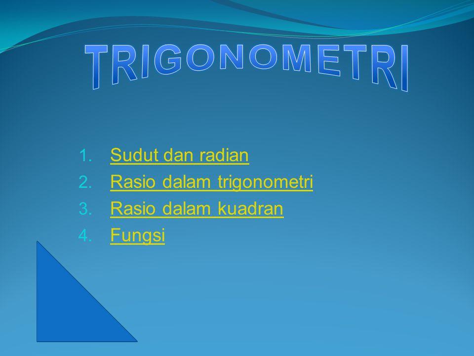 1. Sudut dan radian Sudut dan radian 2. Rasio dalam trigonometri Rasio dalam trigonometri 3. Rasio dalam kuadran Rasio dalam kuadran 4. Fungsi Fungsi