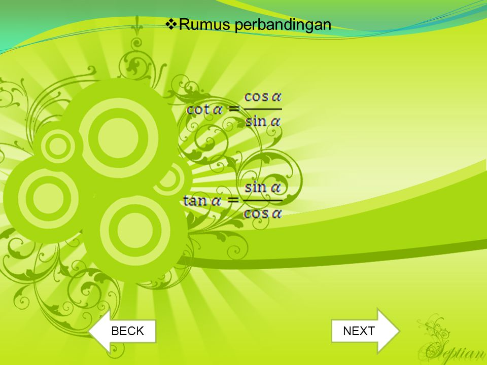  Rumus perbandingan BECK NEXT