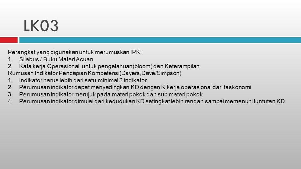 LK03 Perangkat yang digunakan untuk merumuskan IPK: 1.Silabus / Buku Materi Acuan 2.Kata kerja Operasional untuk pengetahuan(bloom) dan Keterampilan R