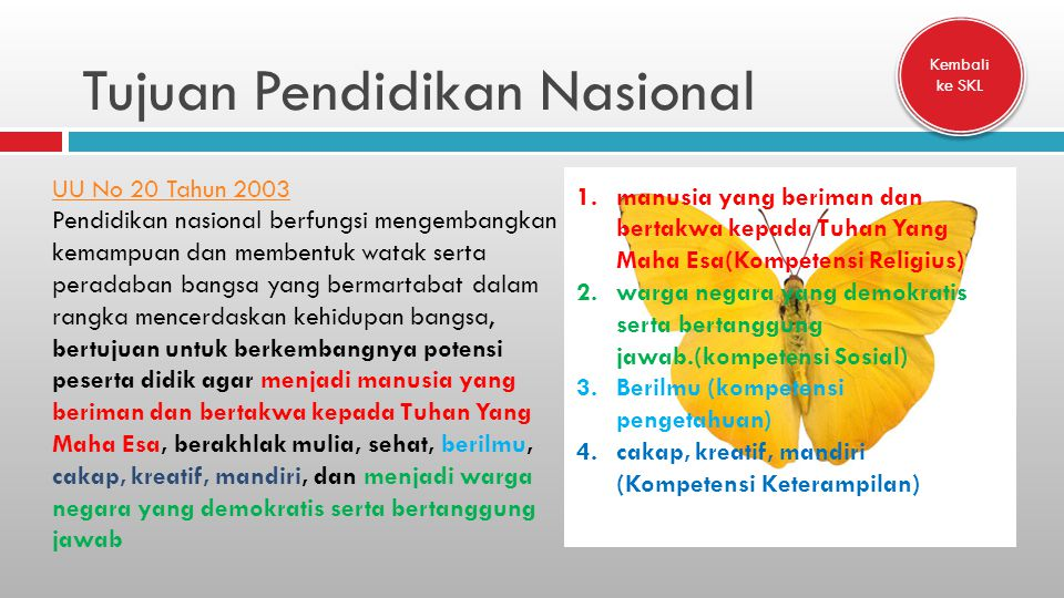 Tujuan Pendidikan Nasional UU No 20 Tahun 2003 Pendidikan nasional berfungsi mengembangkan kemampuan dan membentuk watak serta peradaban bangsa yang b