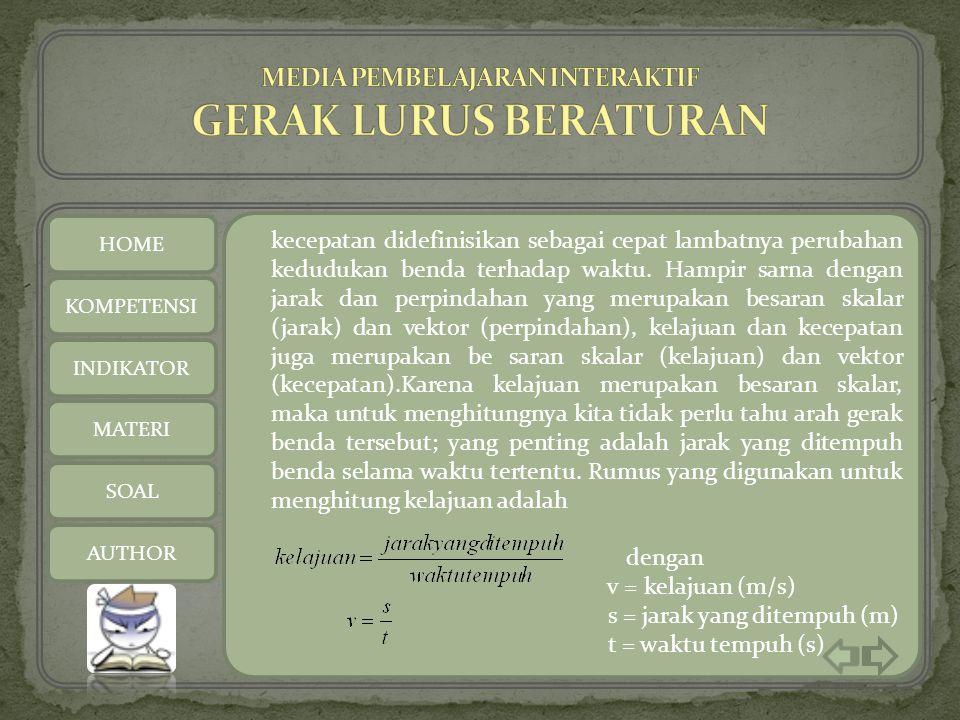HOME AUTHOR Guru Pamong Tri Wahyuni,S.Pd Praktikan Purwati (4201408056) Esti Maretasari (4201408057) KOMPETENSI INDIKATOR MATERI SOAL AUTHOR