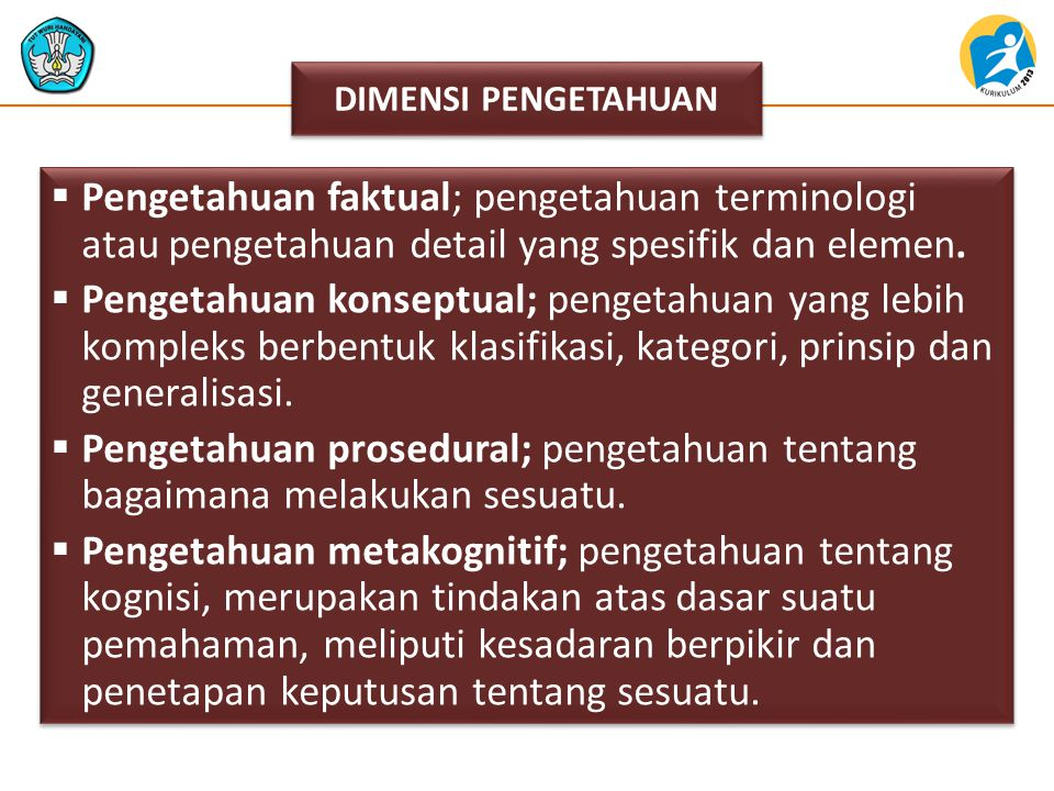 Pengetahuan faktual; pengetahuan terminologi atau pengetahuan detail yang spesifik dan elemen.  Pengetahuan konseptual; pengetahuan yang lebih komp