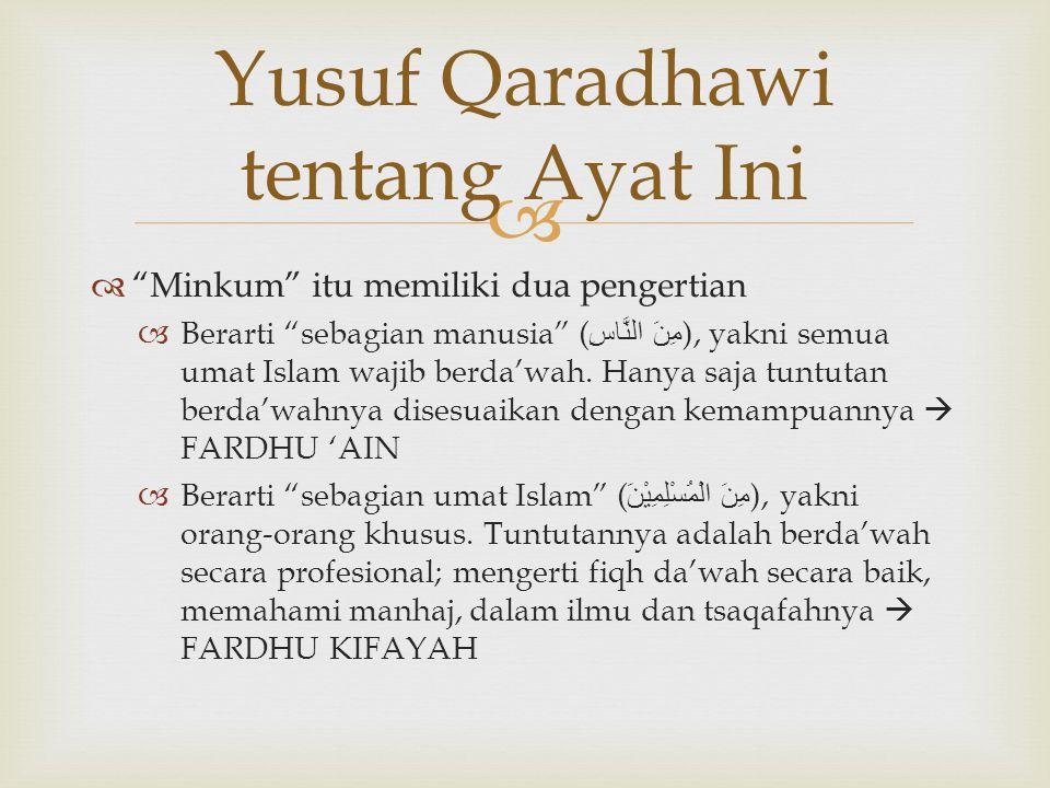 """  """"Minkum"""" itu memiliki dua pengertian  Berarti """"sebagian manusia"""" ( مِنَ النَّاسِ ), yakni semua umat Islam wajib berda'wah. Hanya saja tuntutan b"""