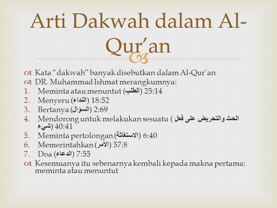 "  Kata ""dakwah"" banyak disebutkan dalam Al-Qur'an  DR. Muhammad Ishmat merangkumnya: 1.Meminta atau menuntut ( الطلب ) 25:14 2.Menyeru ( النداء ) 1"