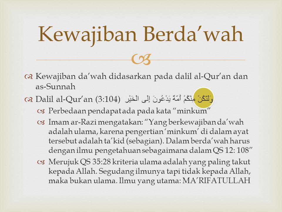   Kewajiban da'wah didasarkan pada dalil al-Qur'an dan as-Sunnah  Dalil al-Qur'an (3:104) وَلْتَكُنْ مِنْكُمْ أُمَّةٌ يَدْعُونَ إِلَى الْخَيْرِ  P