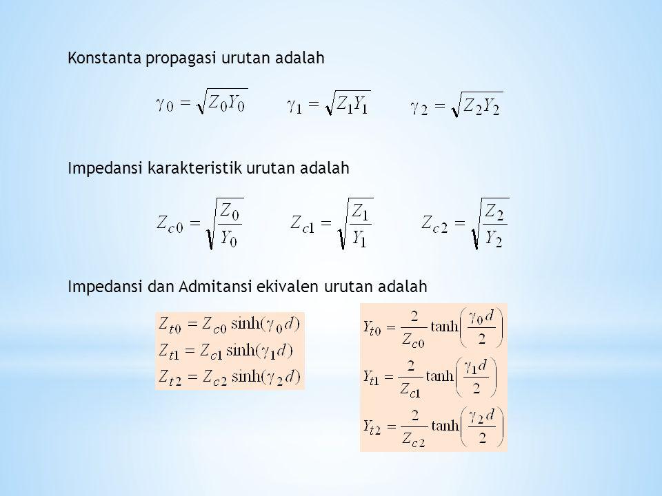 Konstanta propagasi urutan adalah Impedansi karakteristik urutan adalah Impedansi dan Admitansi ekivalen urutan adalah