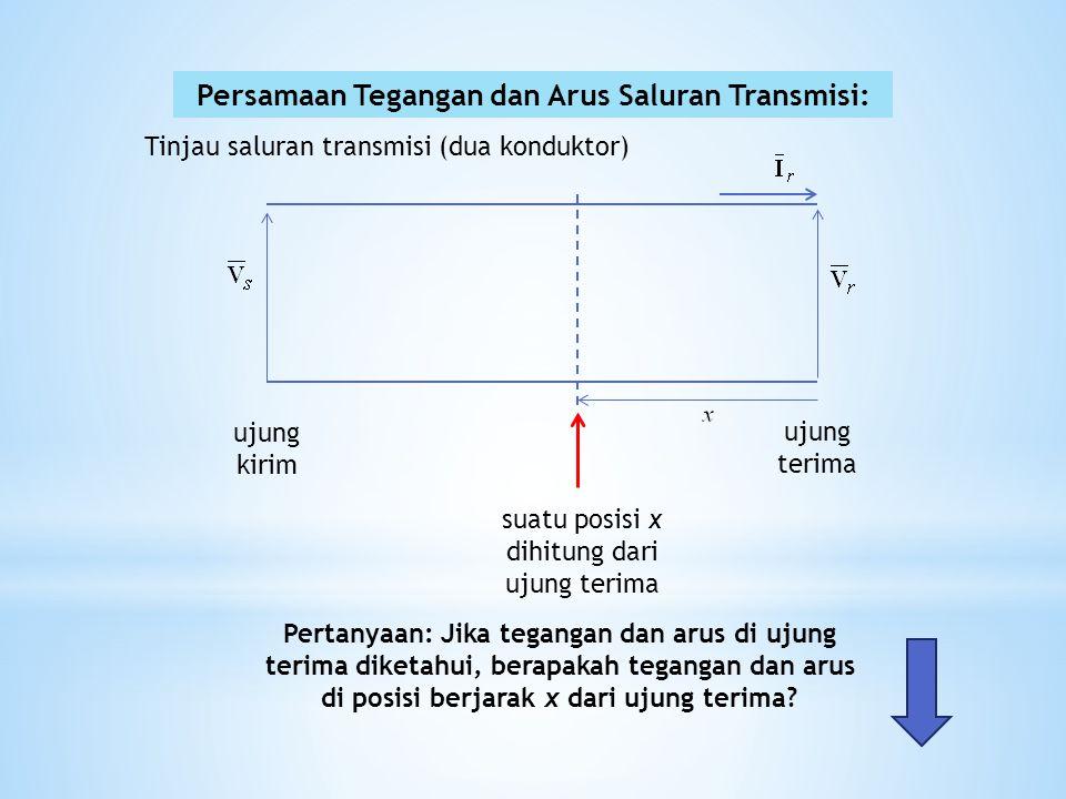 Tinjau jarak sempit  x pada posisi x dari ujung kirim dalam jarak  x ini terdapat impedansi dan admitansi sebesar: dan Dalam jarak sempit ini terdapat tegangan jatuh dan arus antar kedua konduktor sebesar sehingga atau