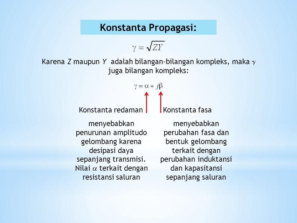 Konstanta Propagasi: Karena Z maupun Y adalah bilangan-bilangan kompleks, maka  juga bilangan kompleks: Konstanta redamanKonstanta fasa menyebabkan p
