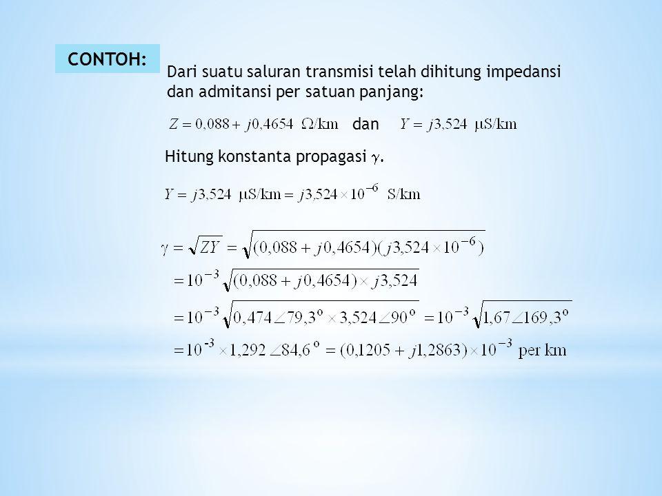 CONTOH: Dari suatu saluran transmisi telah dihitung impedansi dan admitansi per satuan panjang: dan Hitung konstanta propagasi .