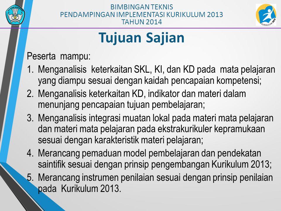 BIMBINGAN TEKNIS PENDAMPINGAN IMPLEMENTASI KURIKULUM 2013 TAHUN 2014 PEMAHAMAN KOMPETENSI Sikap, Pengetahuan Keterampilan SKL: Kualifikasi Kemampuan Lulusan Kompetensi Inti (KI) (KI-1, KI-2, KI-3, KI-4) Kompetensi Dasar (KD) Kompetensi Dasar (KD)