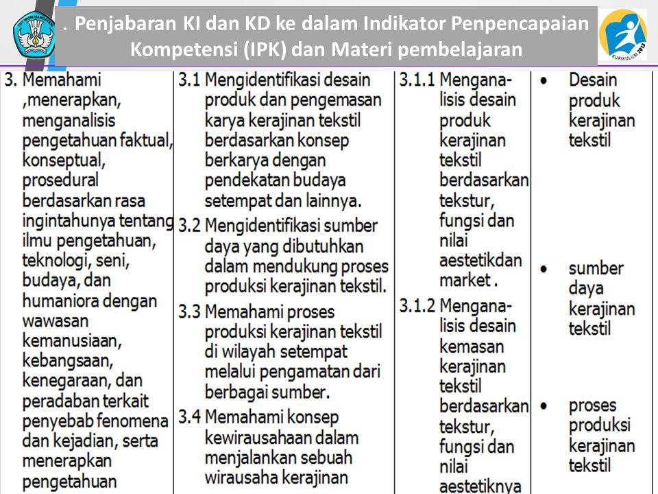 . Penjabaran KI dan KD ke dalam Indikator Penpencapaian Kompetensi (IPK) dan Materi pembelajaran 34