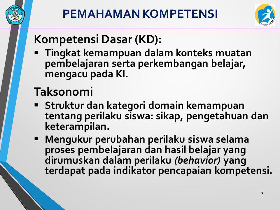 6 Kompetensi Dasar (KD):  Tingkat kemampuan dalam konteks muatan pembelajaran serta perkembangan belajar, mengacu pada KI. Taksonomi  Struktur dan k