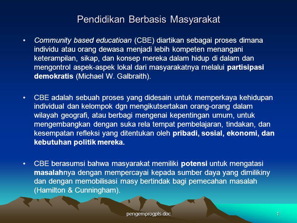 pengemprogpls.doc1 Pendidikan Berbasis Masyarakat Community based educatioan (CBE) diartikan sebagai proses dimana individu atau orang dewasa menjadi