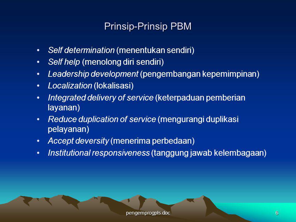 pengemprogpls.doc6 Prinsip-Prinsip PBM Self determination (menentukan sendiri) Self help (menolong diri sendiri) Leadership development (pengembangan