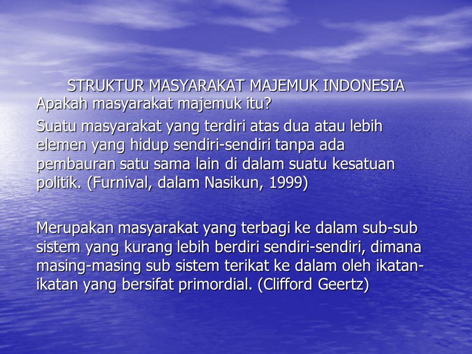 STRUKTUR MASYARAKAT MAJEMUK INDONESIA Apakah masyarakat majemuk itu? Suatu masyarakat yang terdiri atas dua atau lebih elemen yang hidup sendiri-sendi