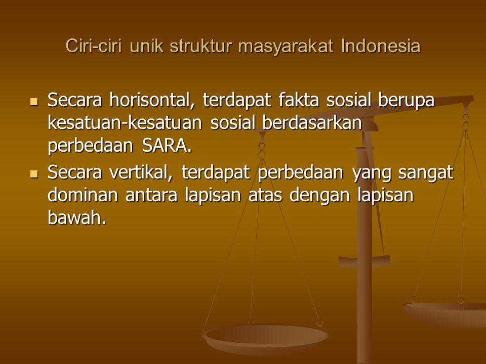 Ciri-ciri unik struktur masyarakat Indonesia Secara horisontal, terdapat fakta sosial berupa kesatuan-kesatuan sosial berdasarkan perbedaan SARA. Seca