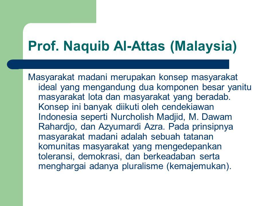 Prof. Naquib Al-Attas (Malaysia) Masyarakat madani merupakan konsep masyarakat ideal yang mengandung dua komponen besar yanitu masyarakat lota dan mas